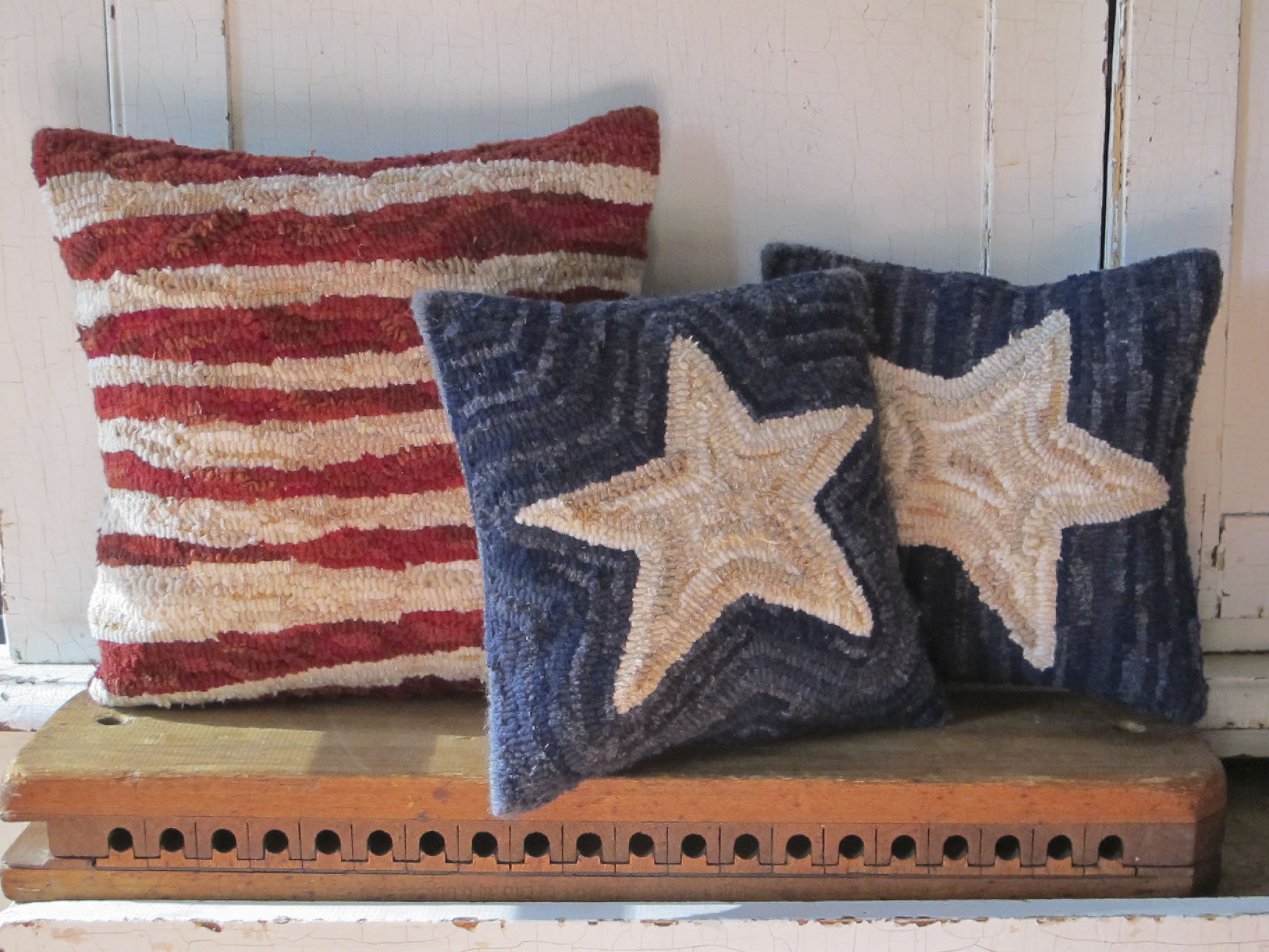 Stars And Stripes Primitive Hooked Pillow Set